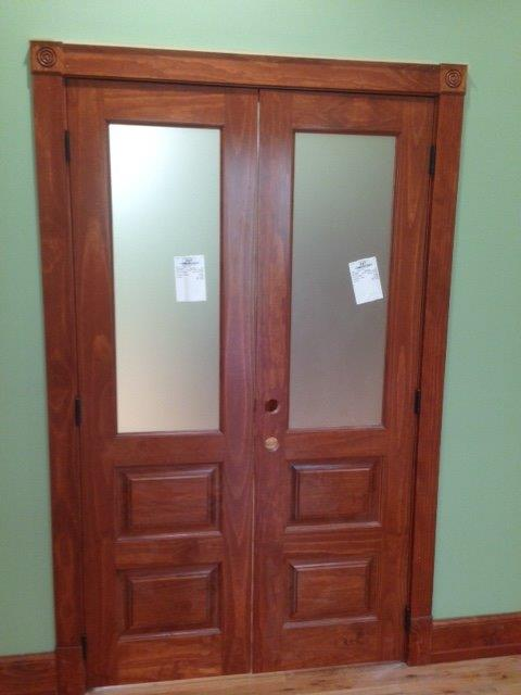 Prefinished Custom Pine Doors with Obscure Glass